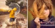 عکاسی مادر از فرزند در پاییز جادویی