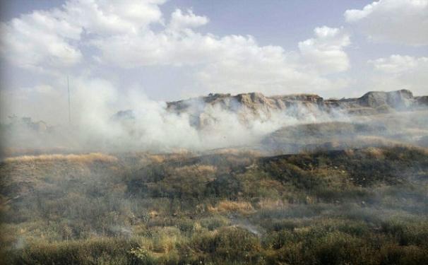 آتش سوزی در محوطه باستانی هگمتانه + تصاویر