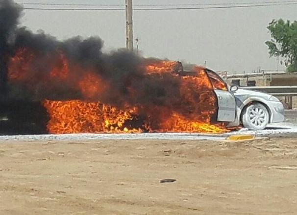 فیلم : آتش گرفتن خودروی مگان در جاده رشت - تهران