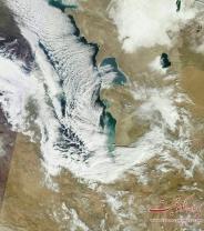 تصویر روز ماهواره ای از برف و سرمای دریای مازندران