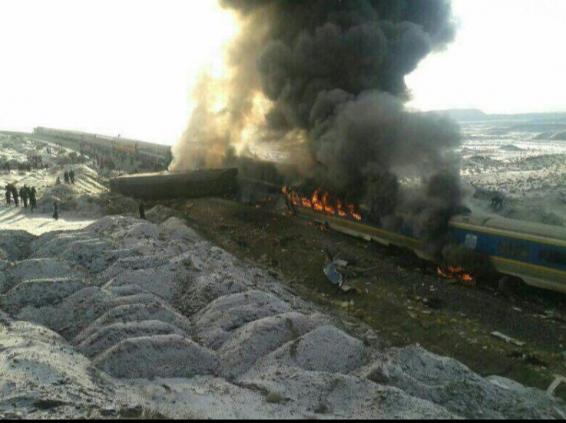 اولین ویدئو از تصادف قطار تبریز مشهد