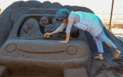 تصاویر | هنرنمایی با شنهای ساحل خزر