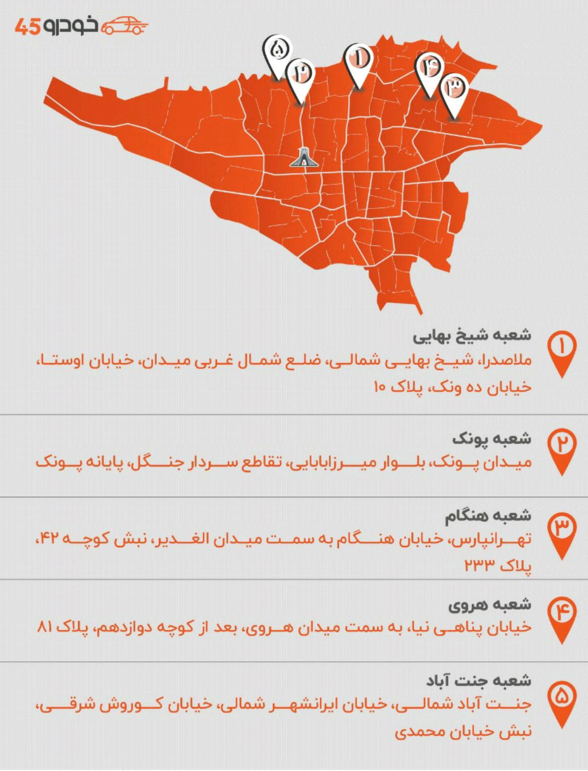 شعبه های خودرد 45 در سراسر ایران توسعه می یابد